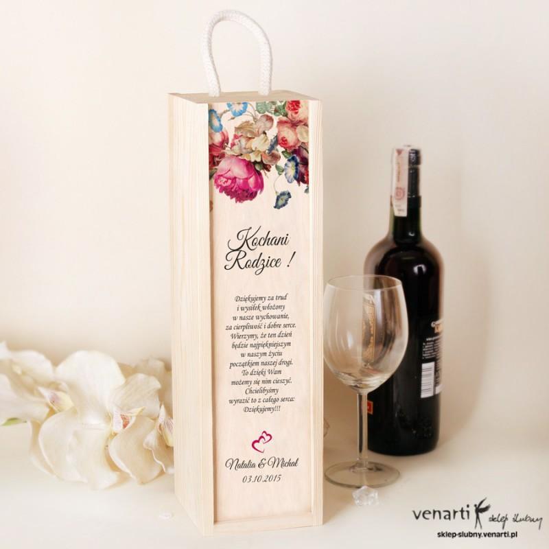 Eko kwiaty Ślubna skrzynka na wino