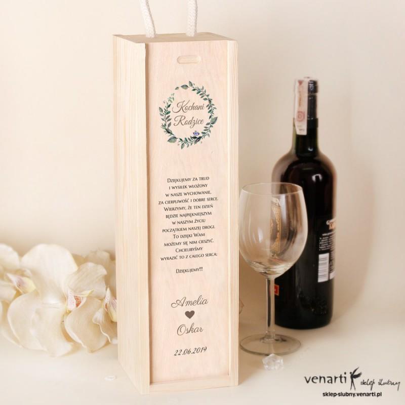 Zielone liście Skrzynka na wino