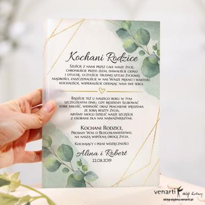 Liście eukaliptusa z geometryczną ramką Szklane zaproszenia dla Rodziców
