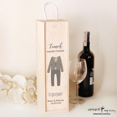 Garnitur Skrzynka na wino Podziękowanie dla świadków
