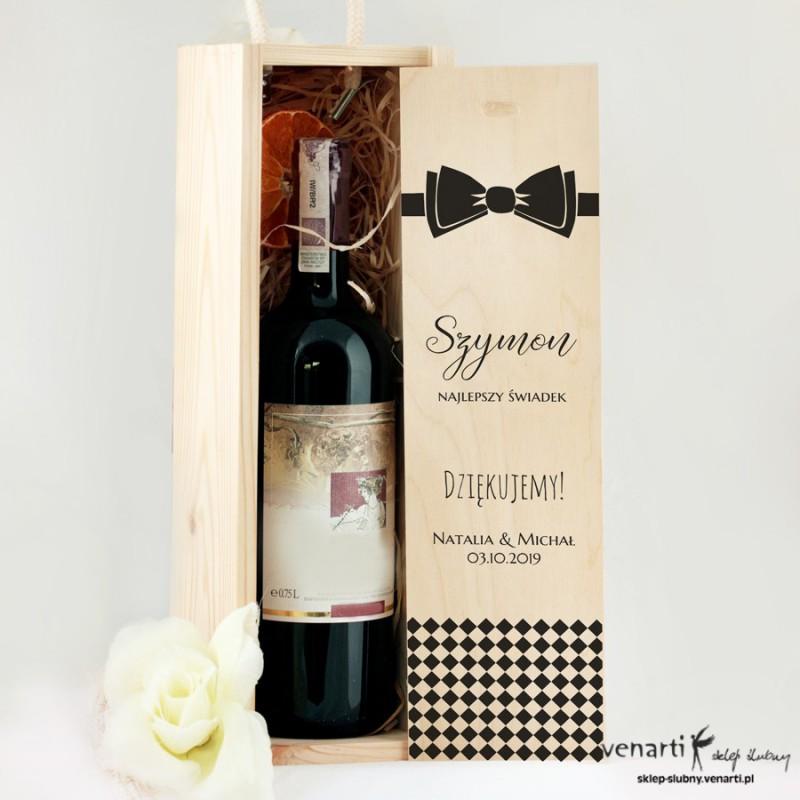 Muszka Skrzynka na wino Podziękowanie dla świadków