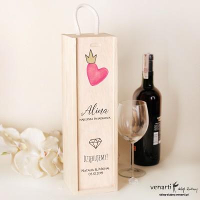 Serce Skrzynka na wino Podziękowanie dla świadkowej