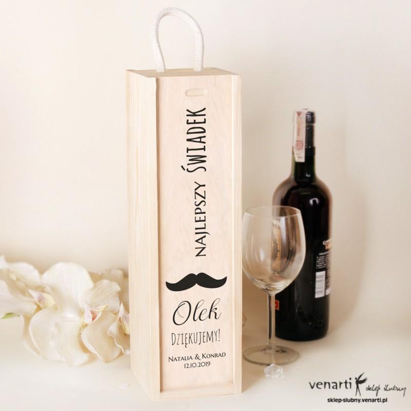 Czarne wąsy Skrzynka na wino Podziękowanie dla świadków