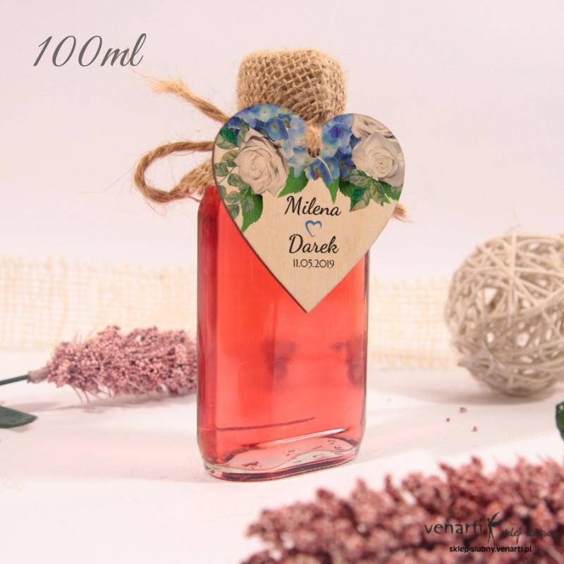Hortensje Ślubne butelki z serduszkiem drewnianym