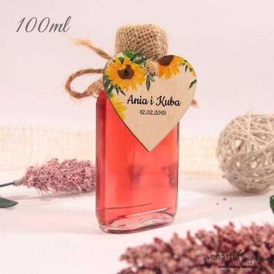 Słoneczniki Ślubne butelki z serduszkiem drewnianym