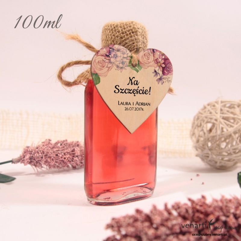 Rustykalne kwiaty Ślubne butelki z serduszkiem drewnianym