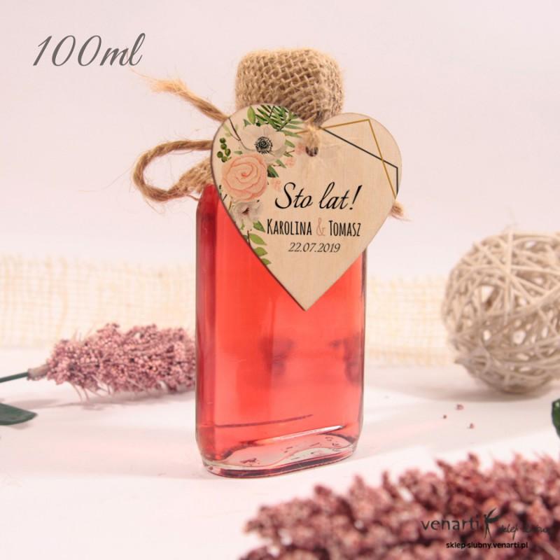 Białe anemone Ślubne butelki z serduszkiem drewnianym