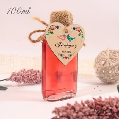 Ptaszki folk Ślubne butelki z serduszkiem drewnianym