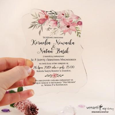 Magnolia Przeźroczyste zaproszenia ślubne z pleksi