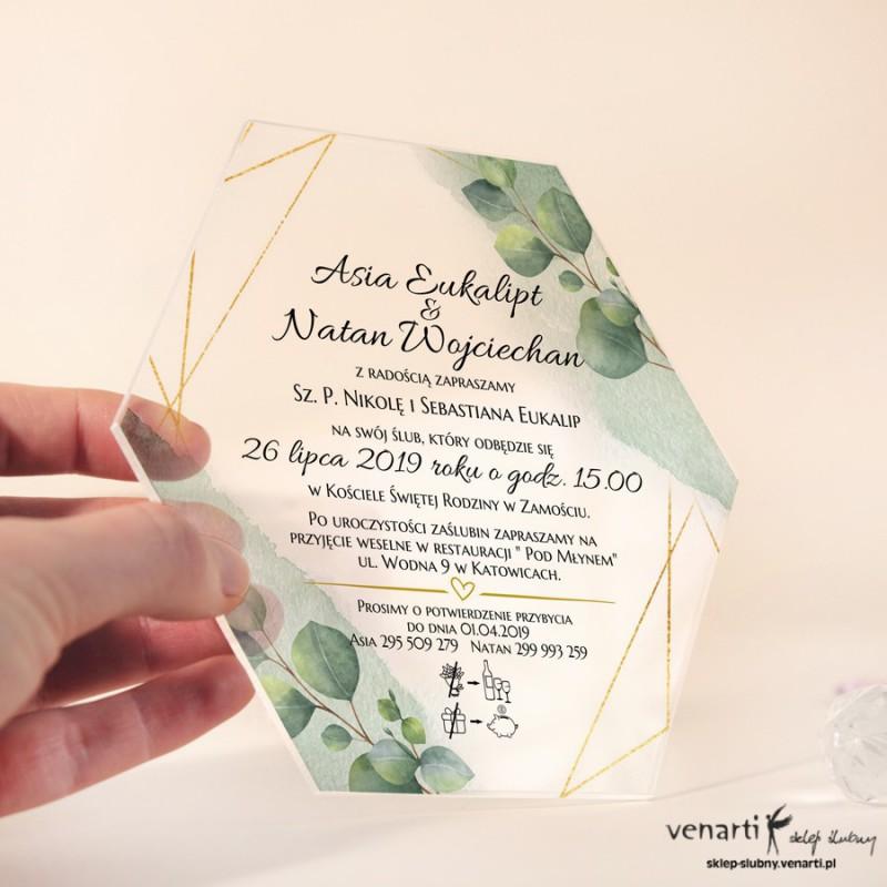 Liście eukaliptusa z geometryczną ramką Przeźroczyste zaproszenia ślubne z pleksi