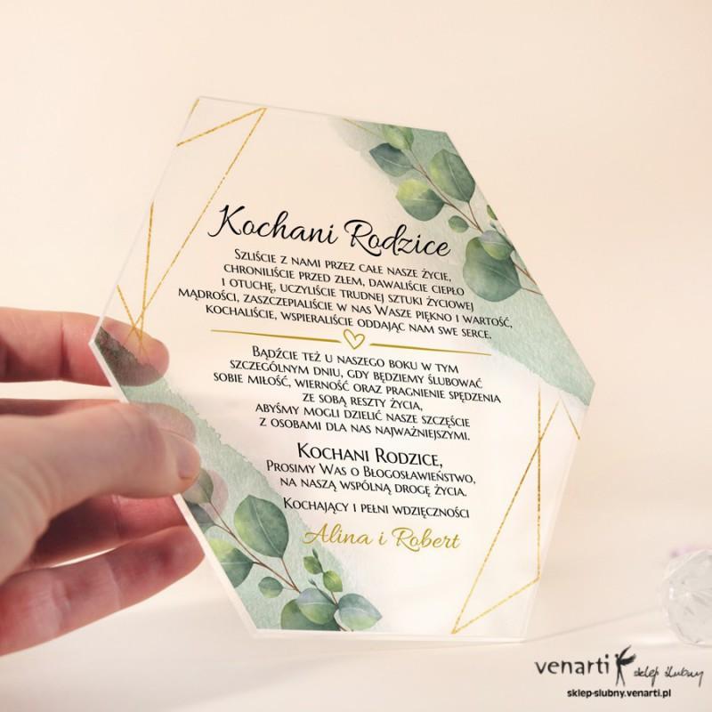 Liście eukaliptusa z geometryczną ramką Zaproszenia dla Rodziców z pleksi