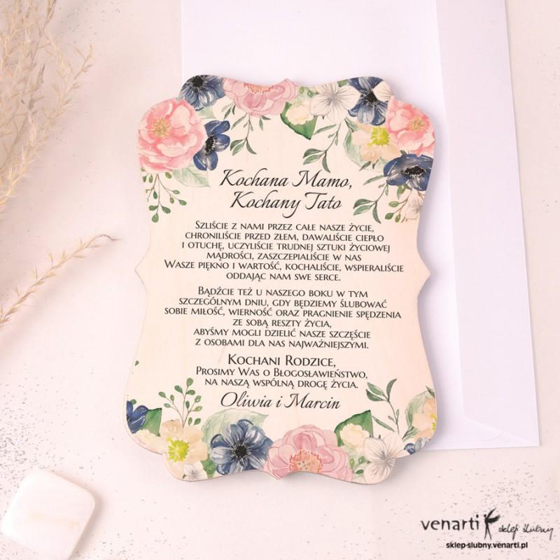 Drewniane zaproszenie dla Rodziców Niebiesko-różowe kwiaty