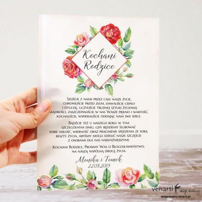 Róże Szklane zaproszenia dla Rodziców