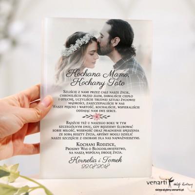 Szklane zaproszenia dla Rodziców ze zdjęciem