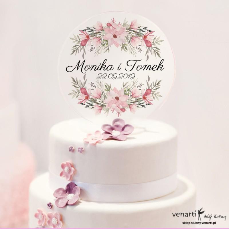 Magnolia Monogram na tort z przezroczytej pleksy