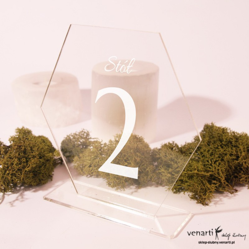 Ślubne numerki na stół z pleksi