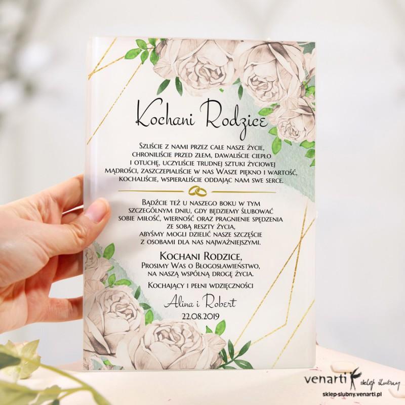 Białe róże Szklane zaproszenia dla Rodziców