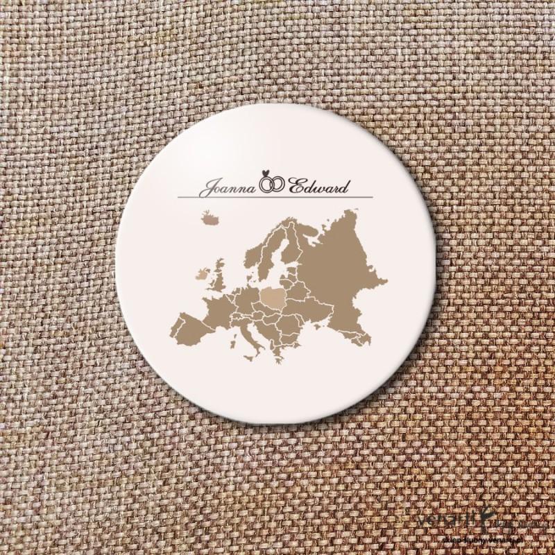 Mapa Europy Przypinki ślubne