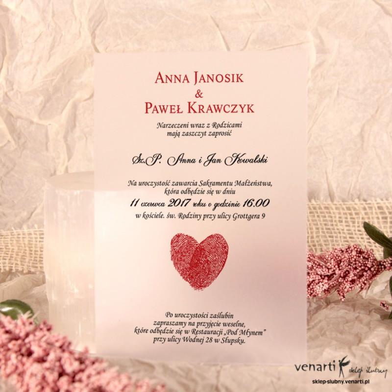 Serce z odcisków Zaproszenia ślubne przezroczyste