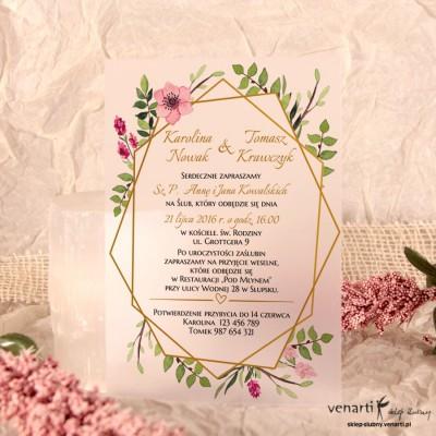 Ramka geometryczna Zaproszenia ślubne przezroczyste