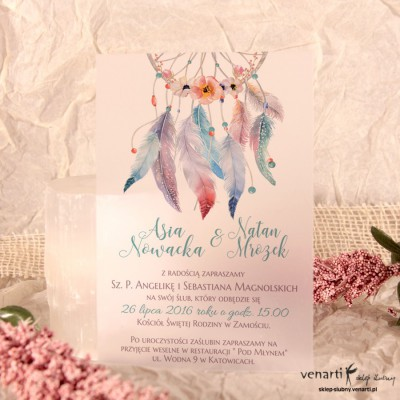 Boho pióra Zaproszenia ślubne przezroczyste