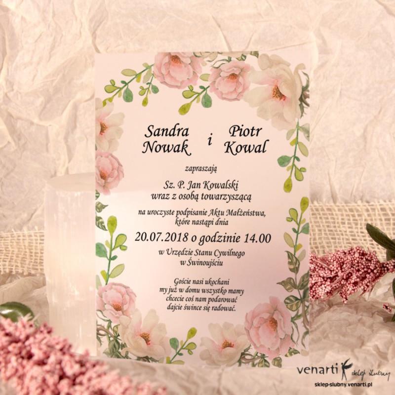 Białe róże Zaproszenia ślubne przezroczyste