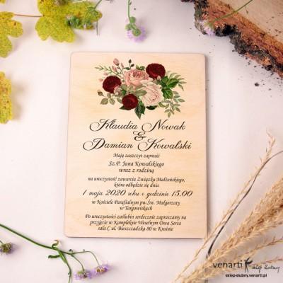 Bukiet piwonii Drewniane zaproszenia ślubne