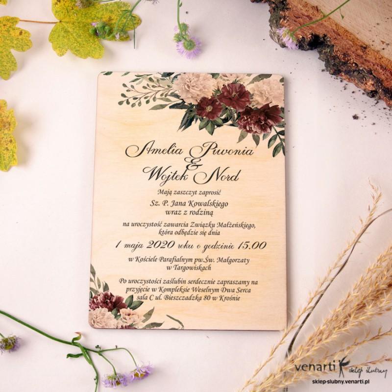 Bukiet piwonii 2 Drewniane zaproszenia ślubne