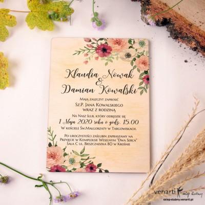 Bukiet kwiatów Drewniane zaproszenia ślubne