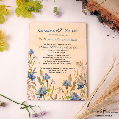 Chabry Drewniane zaproszenia ślubne