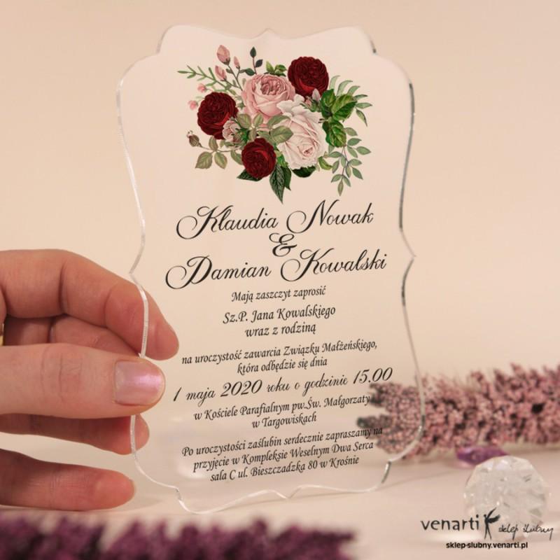 Bukiet piwonii Przeźroczyste zaproszenia ślubne z pleksi