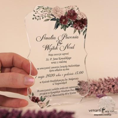 Bukiet piwonii 2 Przeźroczyste zaproszenia ślubne z pleksi