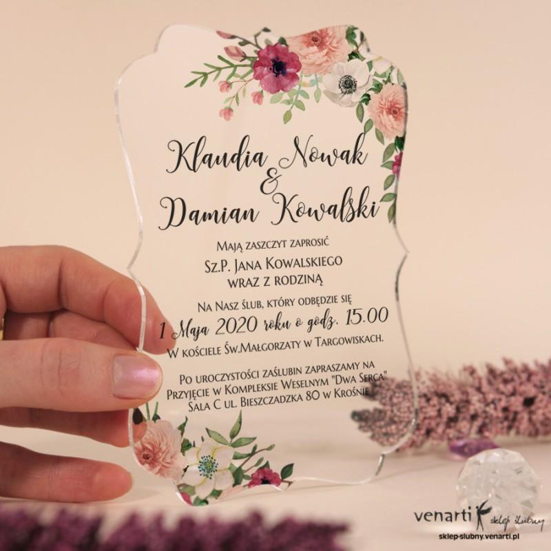Bukiet kwiatów Przeźroczyste zaproszenia ślubne z pleksi