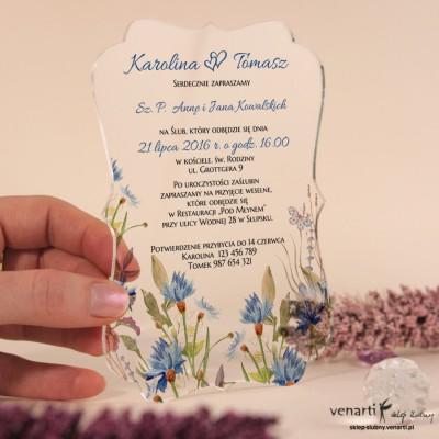 Chabry Przeźroczyste zaproszenia ślubne z pleksi