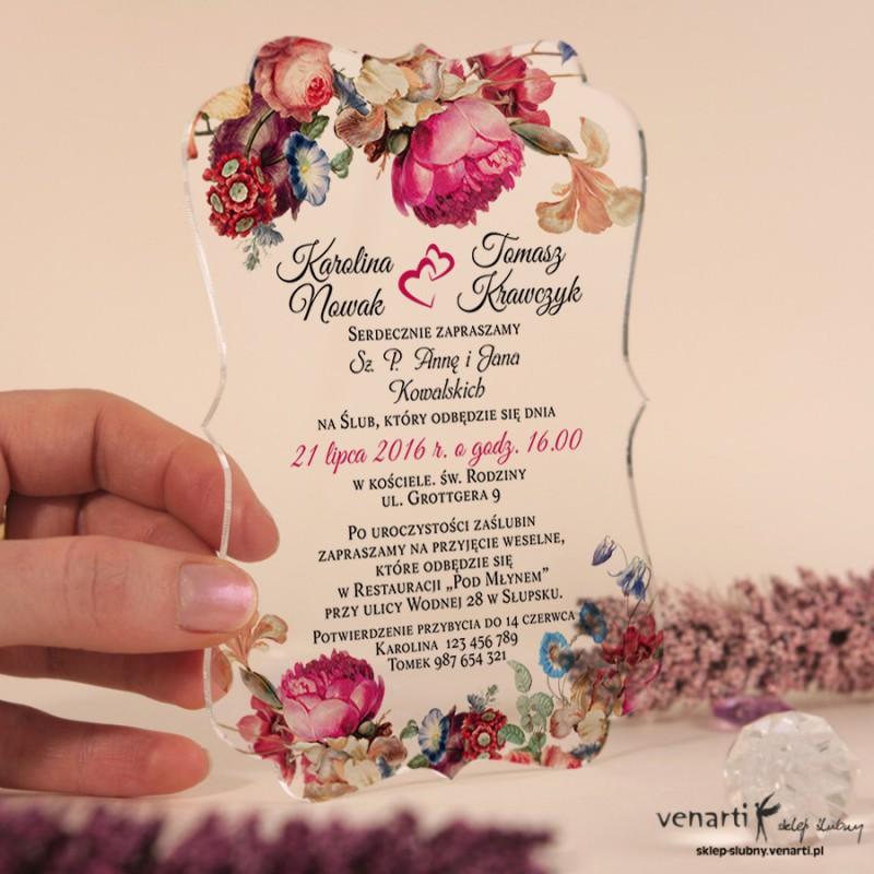 Eko kwiaty Przeźroczyste zaproszenia ślubne z pleksi