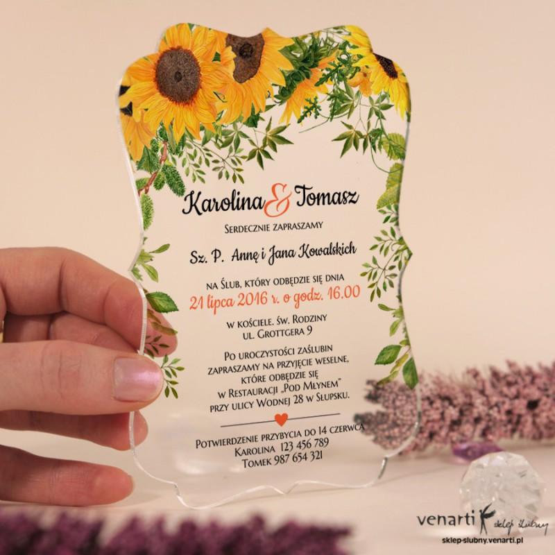 Słoneczniki Przeźroczyste zaproszenia ślubne z pleksi