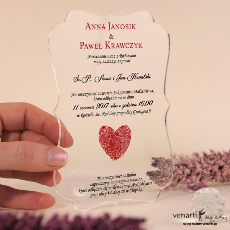 Serce z odcisków Przeźroczyste zaproszenia ślubne z pleksi