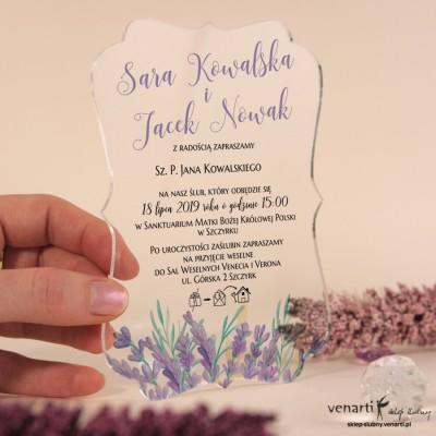 Lawenda Przeźroczyste zaproszenia ślubne z pleksi