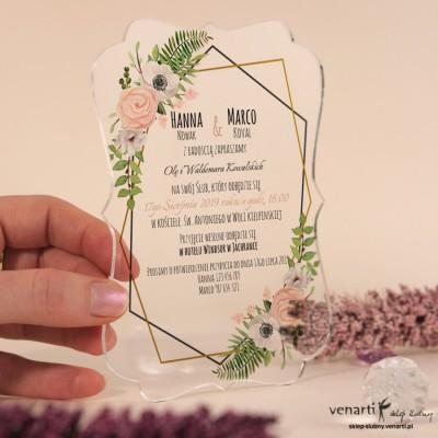 Białe anemone Przeźroczyste zaproszenia ślubne z pleksi