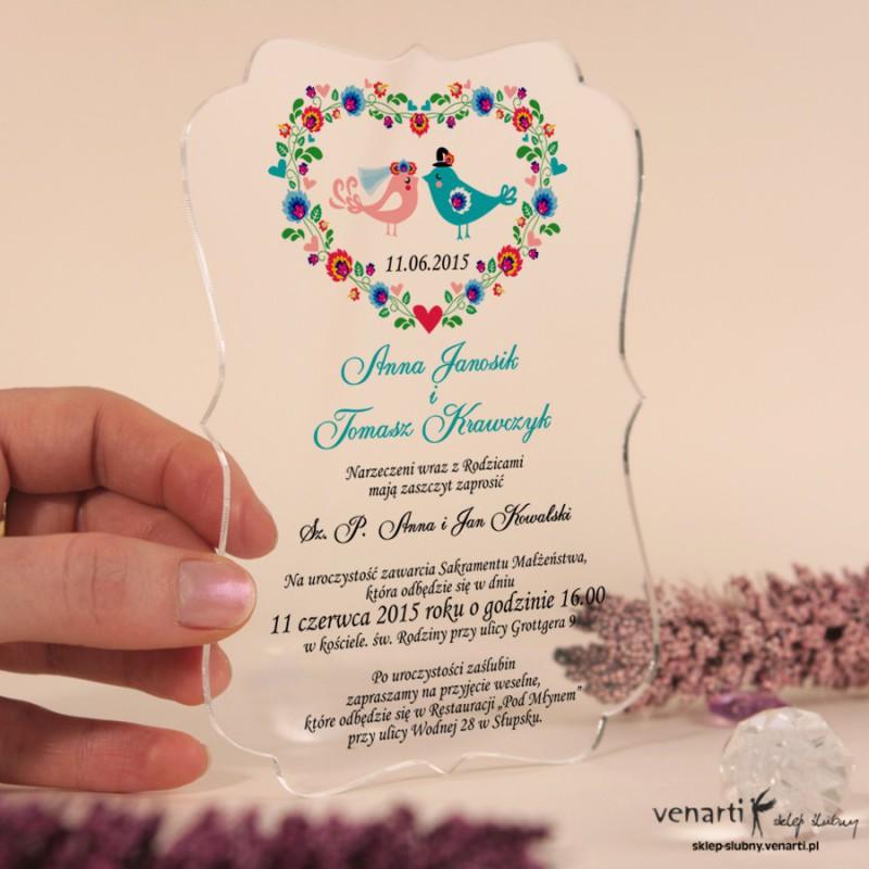 Ptaszki w sercu folk Przeźroczyste zaproszenia ślubne z pleksi