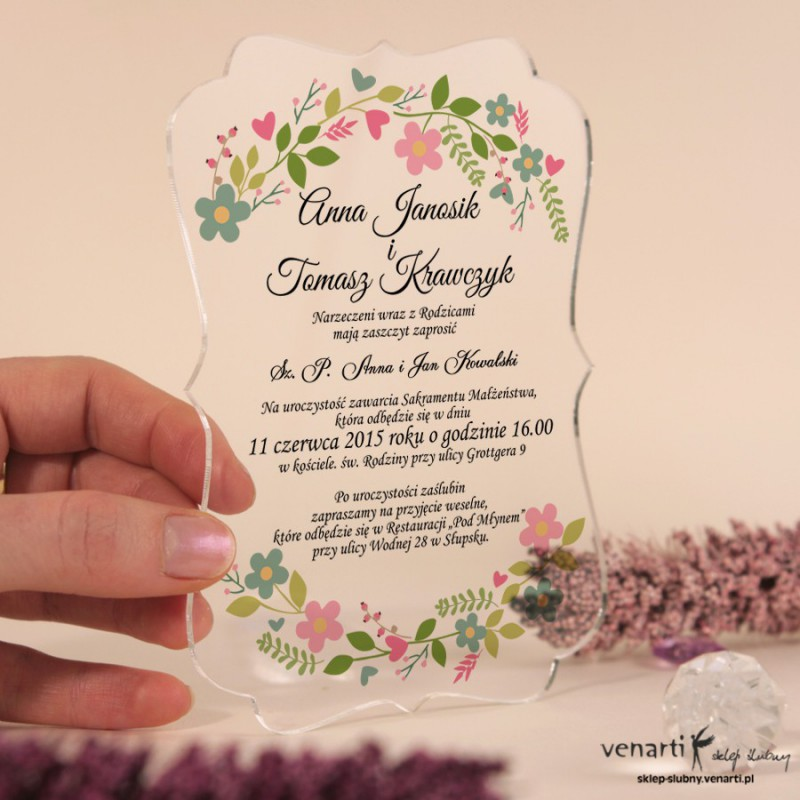 Wiosenny wianek Przeźroczyste zaproszenia ślubne z pleksi