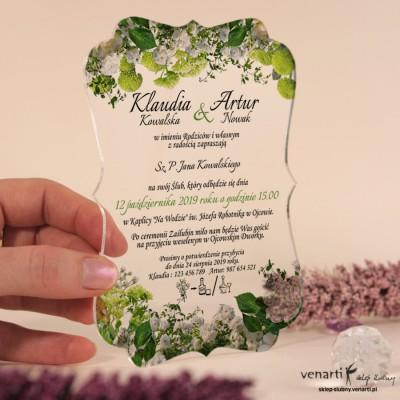 Białe kwiaty Przeźroczyste zaproszenia ślubne z pleksi