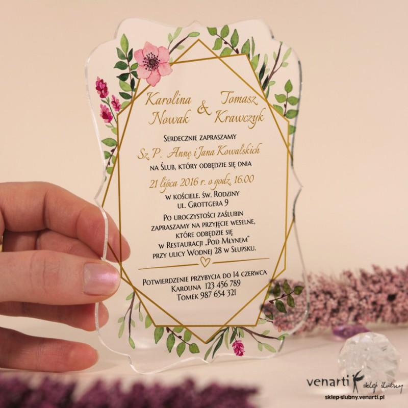 Geometryczna ramka Przeźroczyste zaproszenia ślubne z pleksi
