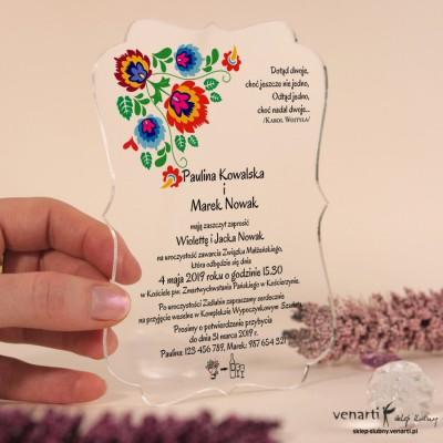 Kwiaty folk Przeźroczyste zaproszenia ślubne z pleksi