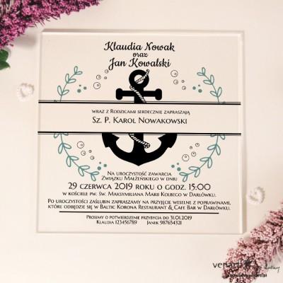 Kotwica Przeźroczyste zaproszenia ślubne z pleksi