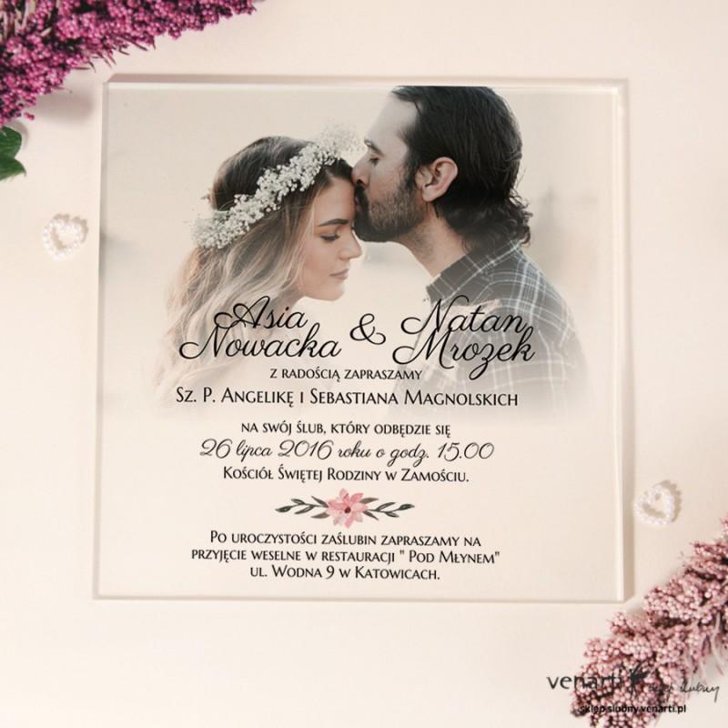 Przeźroczyste zaproszenia ślubne ze zdjęciem z pleksi
