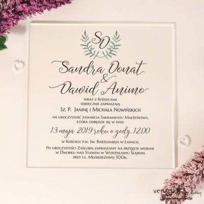 Zielona gałązka Przeźroczyste zaproszenia ślubne z pleksi
