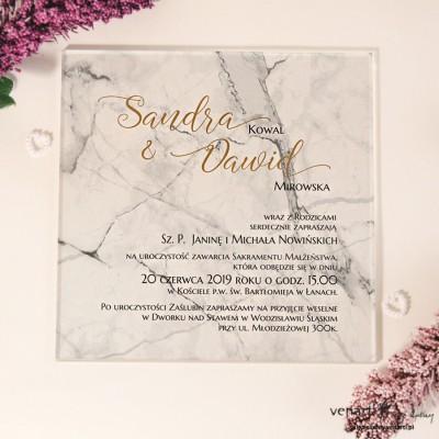 Marmur Przeźroczyste zaproszenia ślubne z pleksi