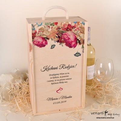 Eko kwiaty Skrzynka na 2 wina Podziękowanie dla rodziców