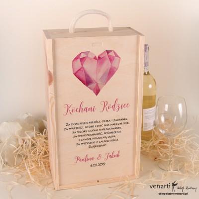 Serce diament Skrzynka na 2 wina Podziękowanie dla rodziców
